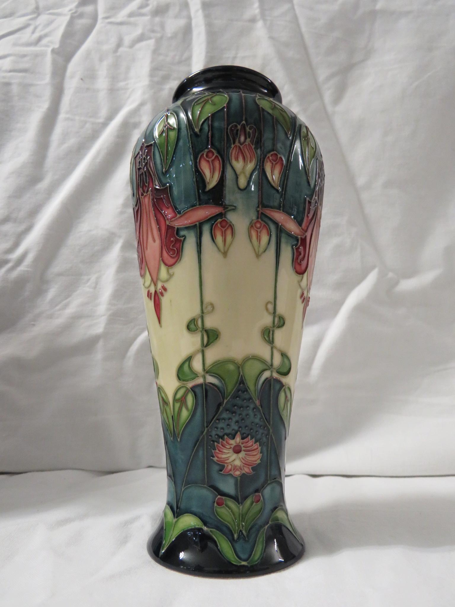 Lot 15 - Moorcroft pottery vase designed by Rachel Bishop, high shouldered baluster form, cream and graduated