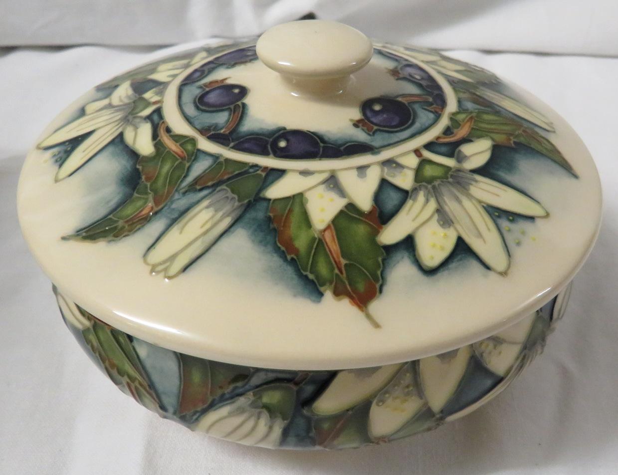 Moorcroft pottery Juneberry squat jar designed by Angela Davenport, cream ground, tube lined