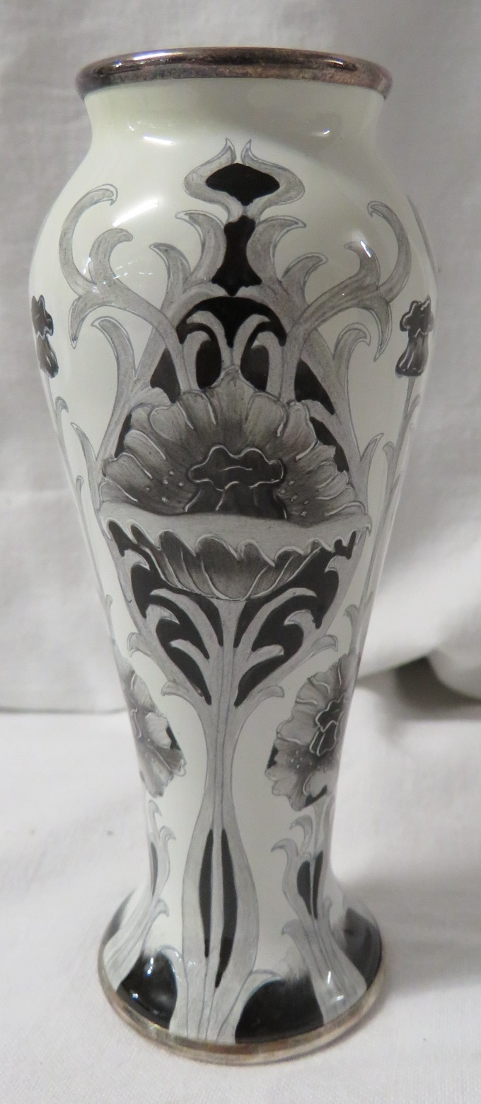 Lot 35 - Moorcroft enamel Black Poppy slender baluster vase, en grisaille stylized flowers and foliage,