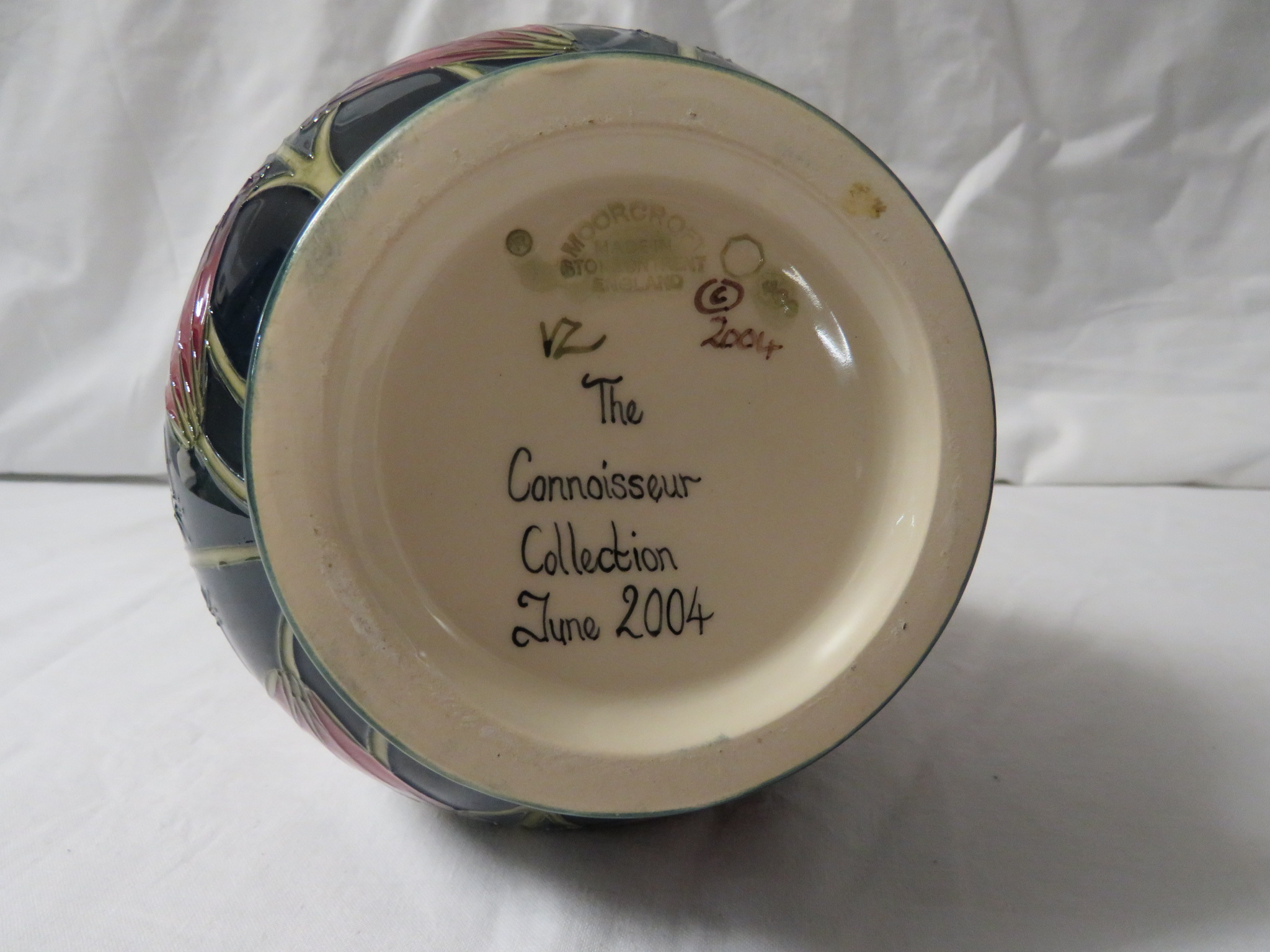 Lot 26 - Moorcroft Pottery Connoisseur Collection bottle vase, graduated cream ground, tube lined