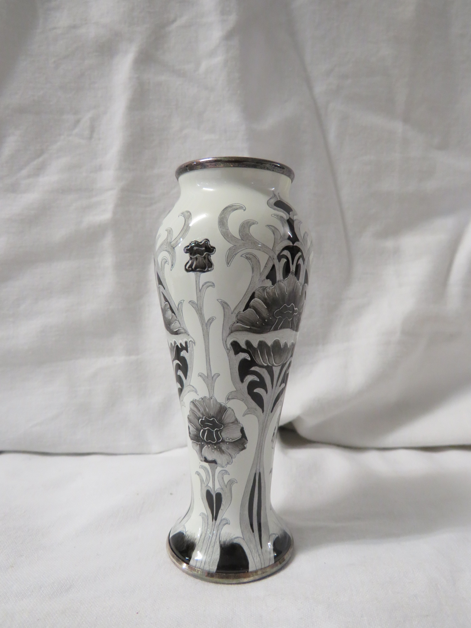 Moorcroft enamel Black Poppy slender baluster vase, en grisaille stylized flowers and foliage, - Image 3 of 4