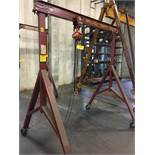 Wallace MF-29-8 1-Ton Capacity Portable Gantry Crane with 1 Ton Chainfall, 6-1/2' Span, 8' Height