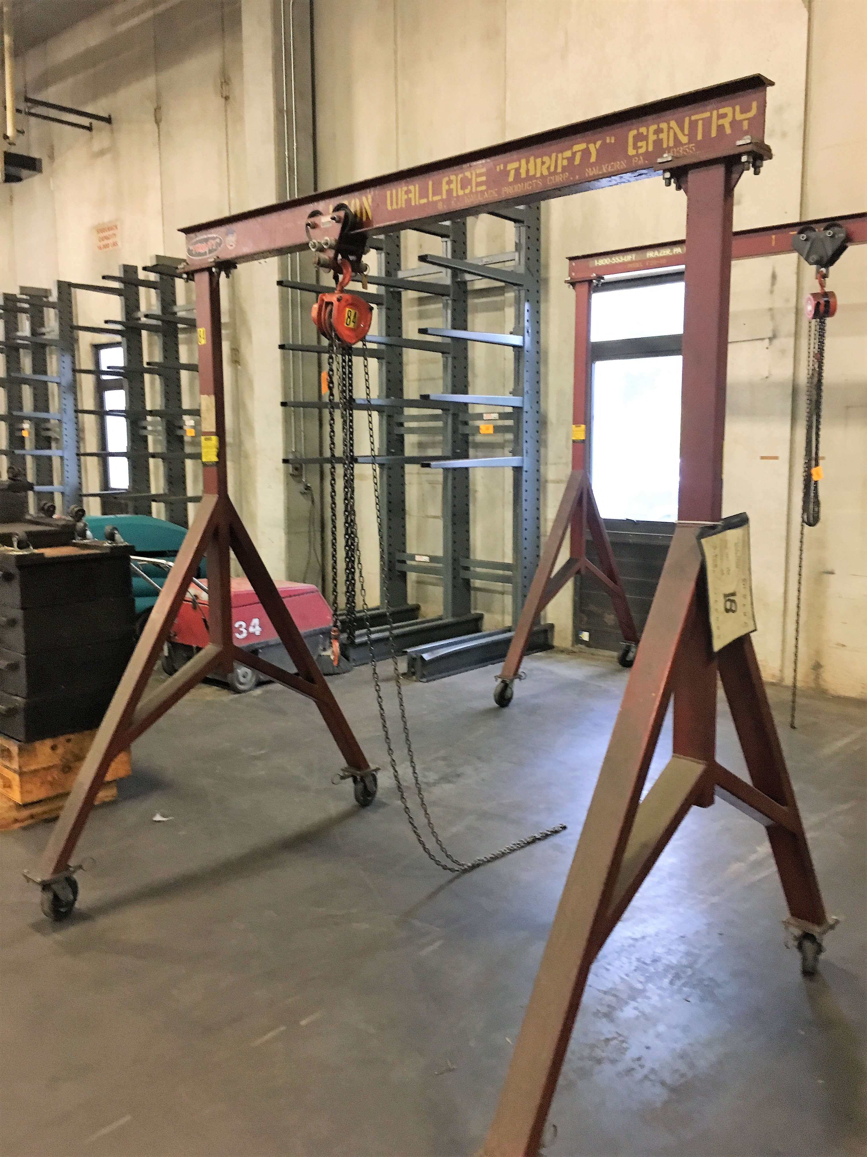 Lot 47 - Wallace MF-29-8 1-Ton Capacity Portable Gantry Crane with 1 Ton Chainfall, 6-1/2' Span, 8' Height
