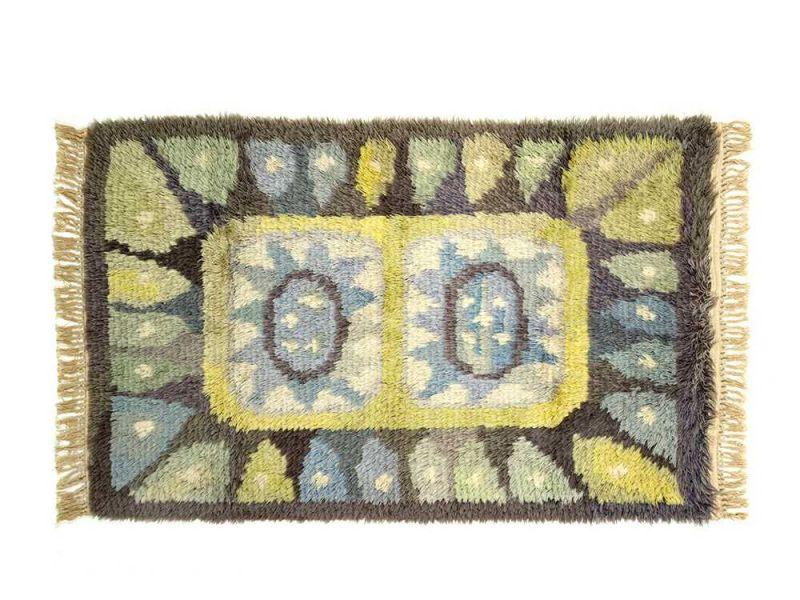 Lot 128   Heller Handgeknüpfter Rya Teppich In Blau Und Grün, 1950/60