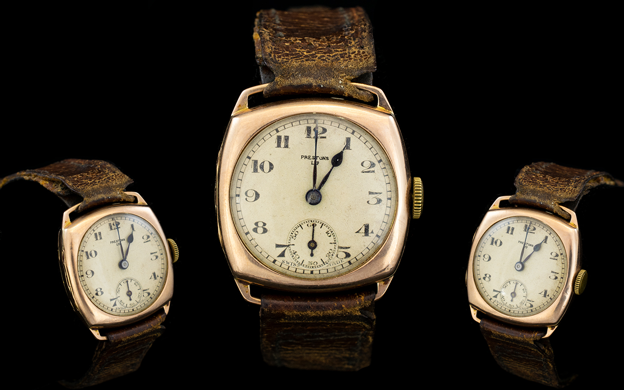 Lot 56 - Gents - 9ct Rose Gold Mechanical Boys Si