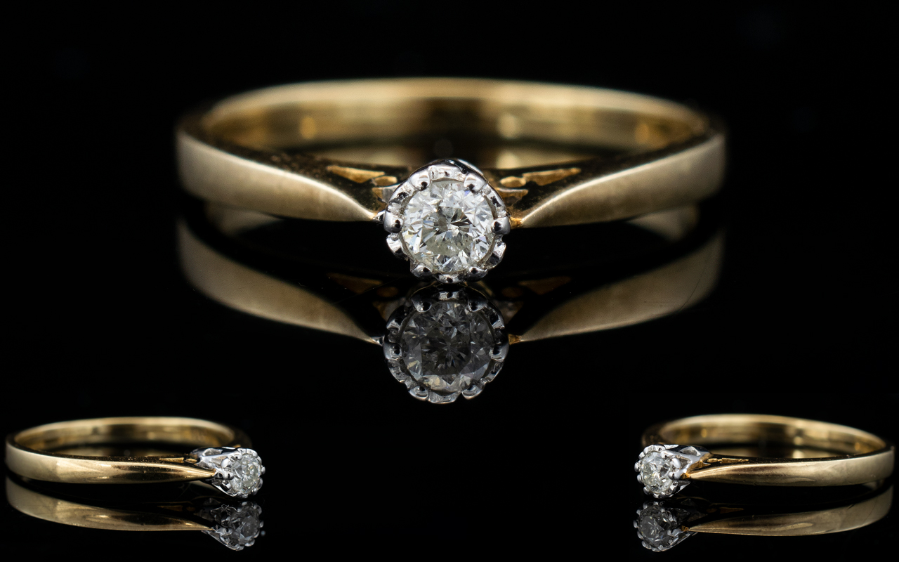 Lot 140 - Ladies 9ct Gold Single Stone Diamond Rin