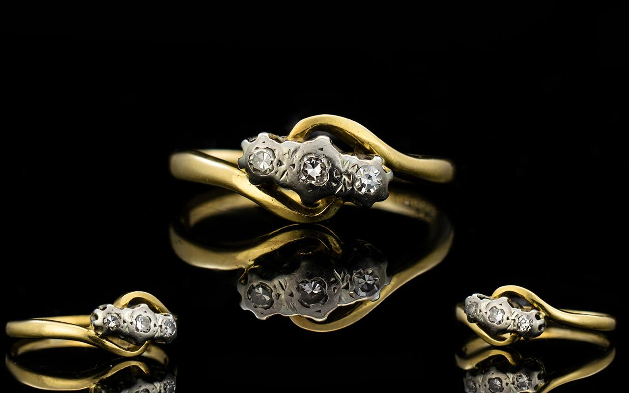 Lot 76 - Antique Period 18ct Gold 3 Stone Diamond