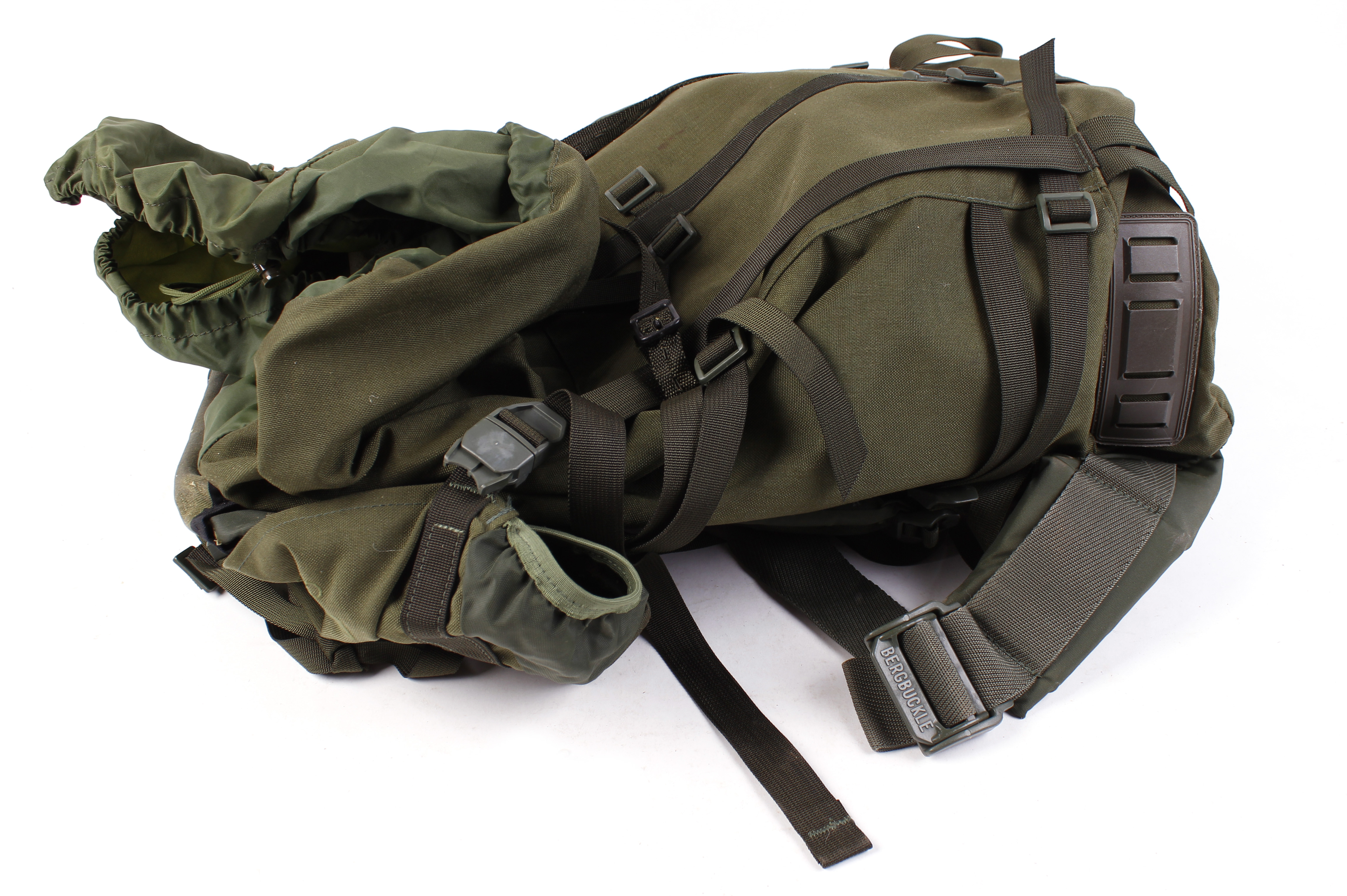 Lot 10 - Berghaus Roc 3 army back pack containing quantity various rifle slings, cartridges belts, etc