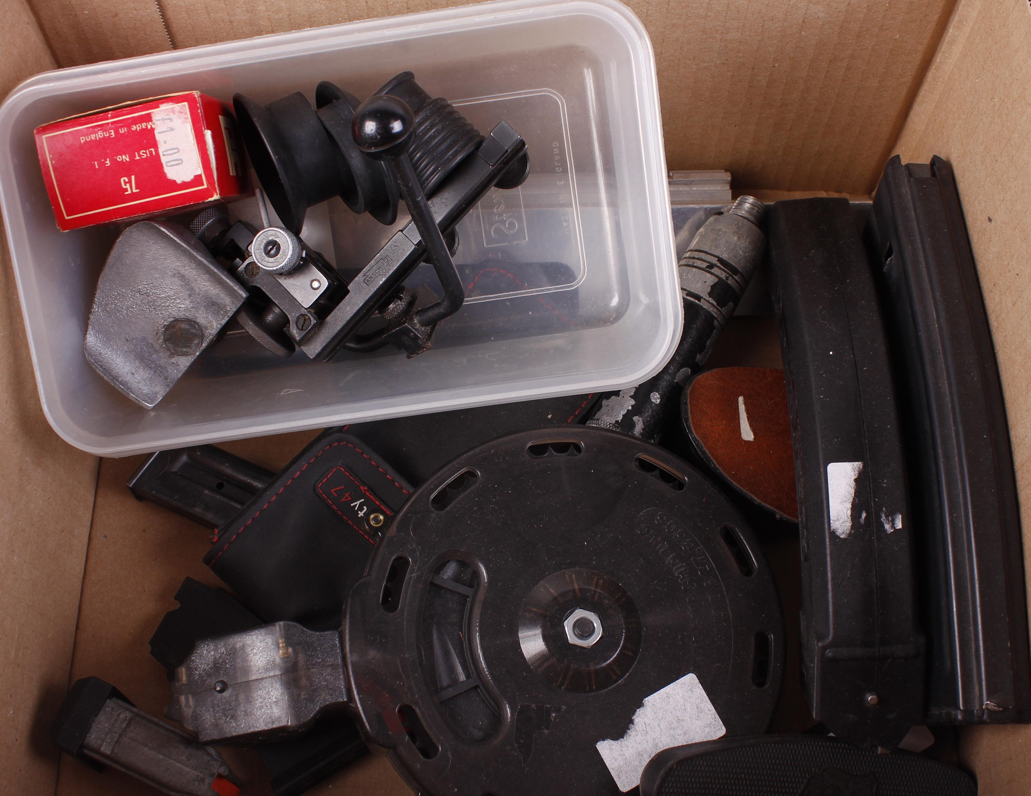 Lot 41 - Box containing various magazines, Anschutz target sights, etc