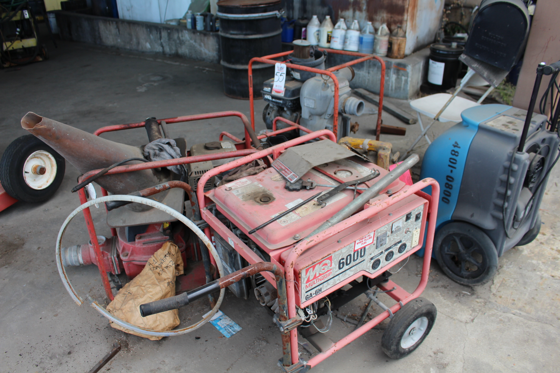 Lot 55 - LOT - (3) MISC GAS POWERED PUMPS, GAS POWERED GENERATOR, DEHUMIDIFIER