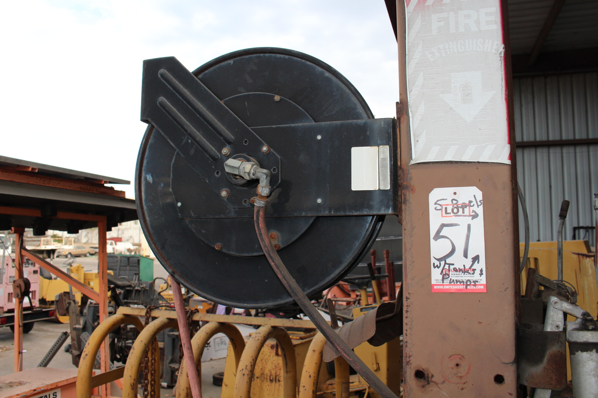 Lot 51 - LOT - (5) HOSE REELS, W/ REMOTE FLUID TANKS AND PUMPS