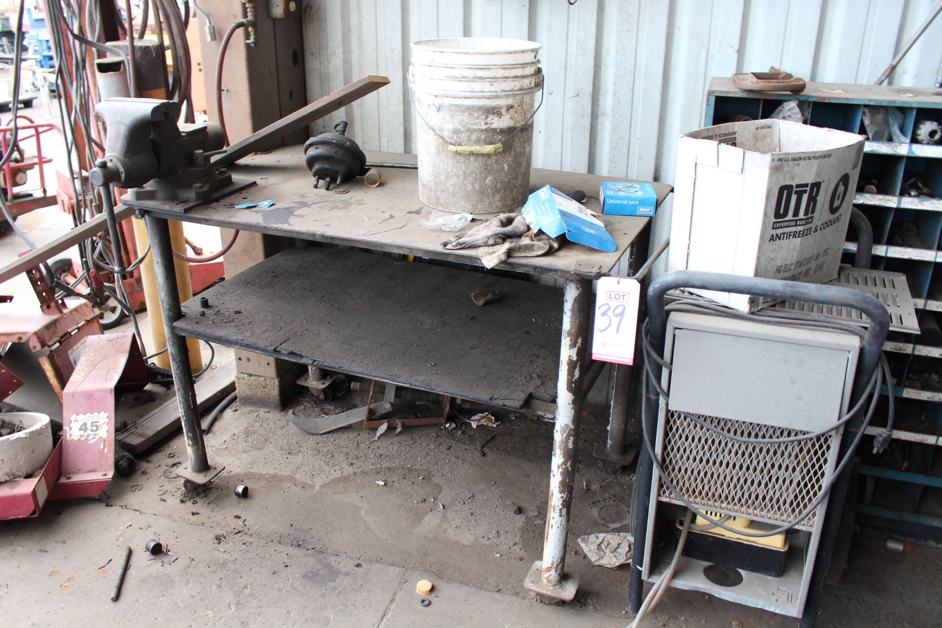 """Lot 39 - ***VOID*** LOT - WELDING TABLE, 48"""" X 29"""", W/ 6-1/2"""" BENCH VISE, DEHUMIDIFIER, OUT OF SERVICE"""