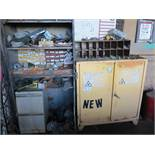LOT - ALL ITEMS ON BACK WALL, TO INCLUDE: FLAMMABLE LIQUID CABINET, JACKHAMMER BITS, TOW HITCH