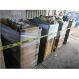 LOT - (5) CARTS TO CONTAIN: AUTOMOTIVE, PLUMBING, ELECTRICAL, SANDPAPER, FLOOR BUFFING PADS,