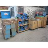 LOT - (8) PARTS BIN CABINETS, (2) CARTS OF DISCHARGE HOSE, (1) BOX FIRE HOSE, (1) BOX OF EXTENSION