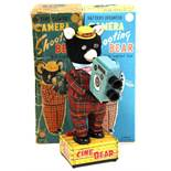 Camera Shooting Bear: A boxed, 1950's, battery operated, tinplate, Camera Shooting Bear with Lighted