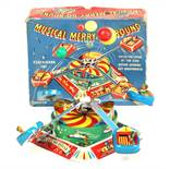 Musical Merry-Go-Round: A boxed 1960's, clockwork, tinplate, Musical Merry-Go-Round, working