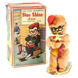 Shoe Shine Joe: A boxed, battery operated, Shoe Shine Joe with Lighted Pipe, Made by Nomura,