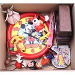 Disney: A collection of assorted Disney items to include: Mickey Mouse clock; Pluto toy; Dwarf/Santa