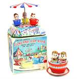 Funland Cup Ride: A boxed 1960's, battery operated, tinplate, Funland Cup Ride, Made by Kanto