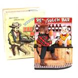 Red Gulch Bar: A boxed 1950's, battery operated, tinplate, Red Gulch Bar (Western Bad Man), Made