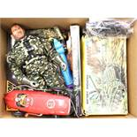 Soldiers and Cars: A box of assorted to comprise: Giant M75 Tank, battery operated, in original box,
