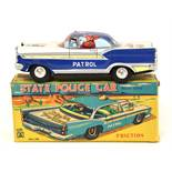 State Police Car: A boxed, 1950's, friction powered, State Police Car, Made by Masuya, Japan,