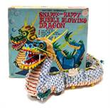 Snappy the Happy Bubble Blowing Dragon: A boxed 1960's, battery operated tinplate, Snappy the