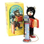 Accordion Bear: A boxed mid-20th century, battery operated, tinplate, Accordion Bear with Lighted