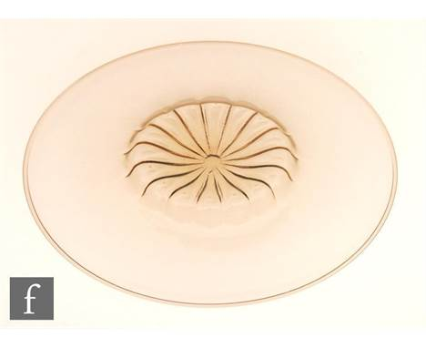 A large mid 20th Century Italian Murano glass Doges Hat platter in the manner of Salviati, with a fluted central well and wid