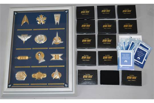 Franklin Mint Star Trek Insignia Collection in display case