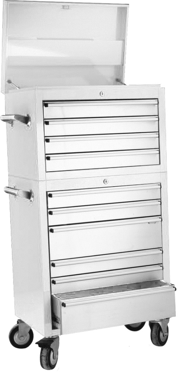 Lot 70 - 26 inch 10 draw stainless steel storage unit 661mm W x 1280mm H 460mm D NEW and BOXED Includes: