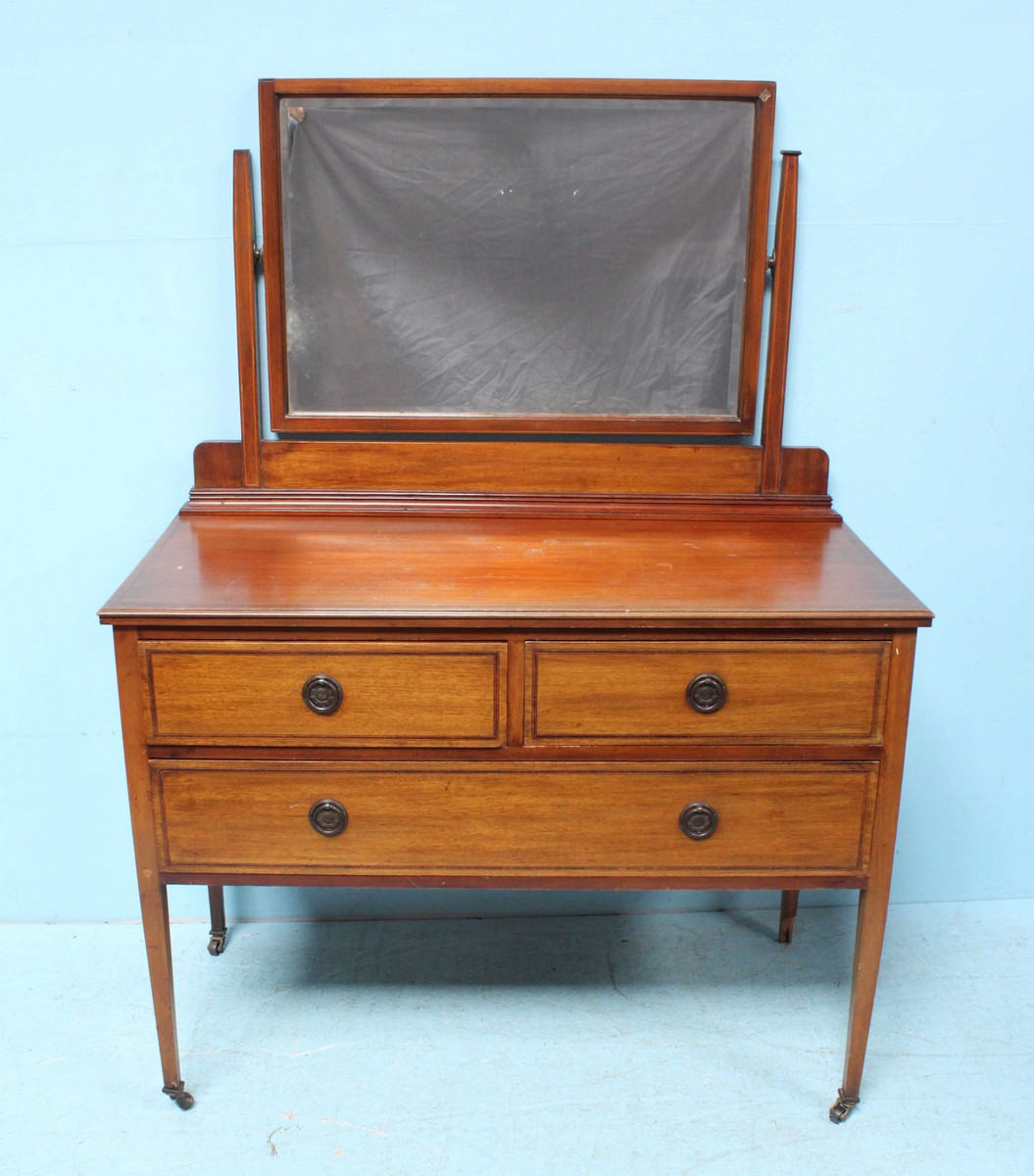 An Edwardian Sheraton Revival Dressing Table With Mirror