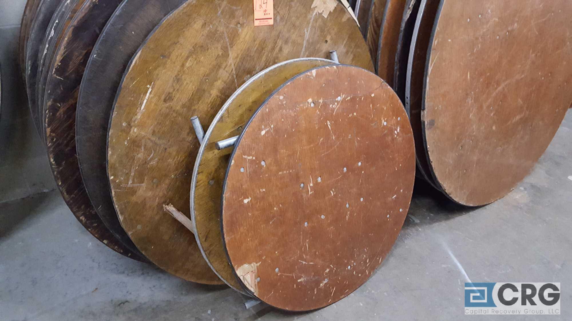 "Lot 124 - Lot of (13) assorted folding leg wood banquet tables, (11) 48"" diameter, (1) 45"" diameter, and (3)"