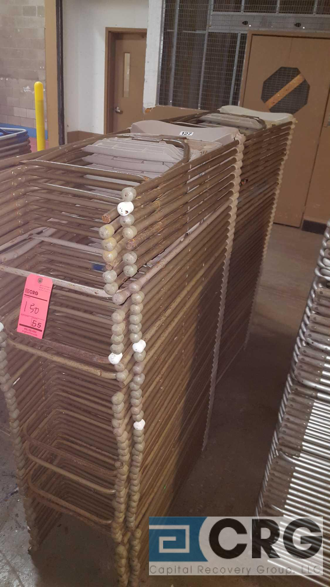 Lot 150 - Lot of (110) assorted gray, metal frame with plastic seat folding chairs.