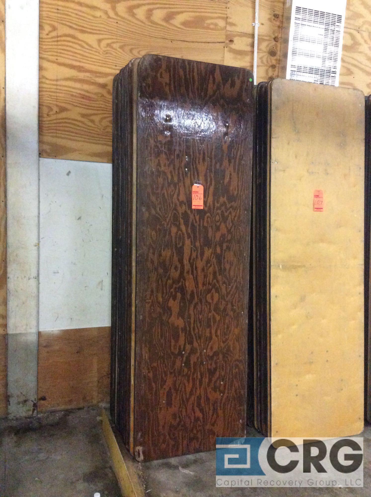 "Lot 105 - Lot of (10) assorted 30"" x 96"" folding leg wood banquet tables."
