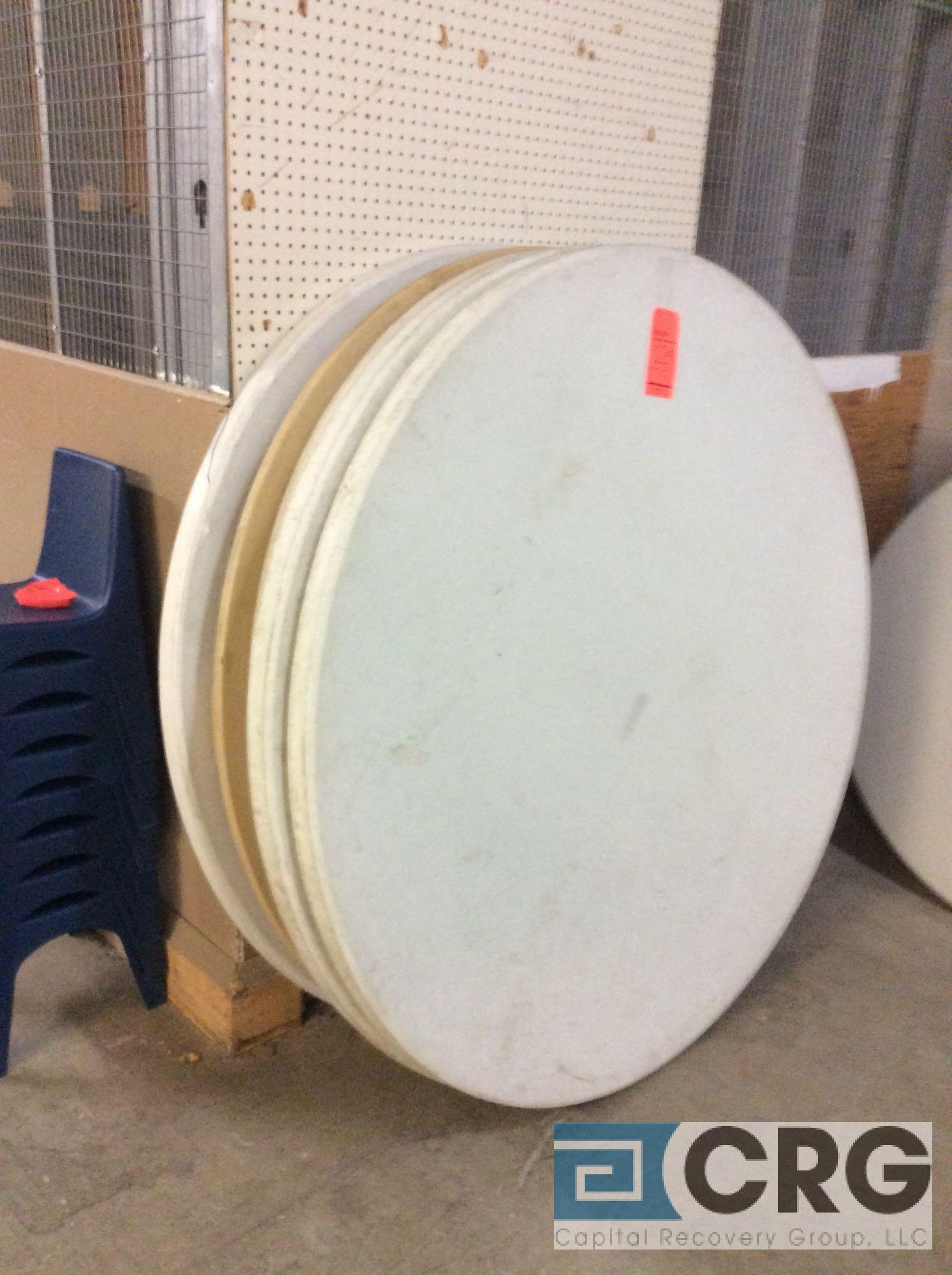 "Lot 129 - Lot of (25) assorted 60"" diameter folding leg resin top tables."