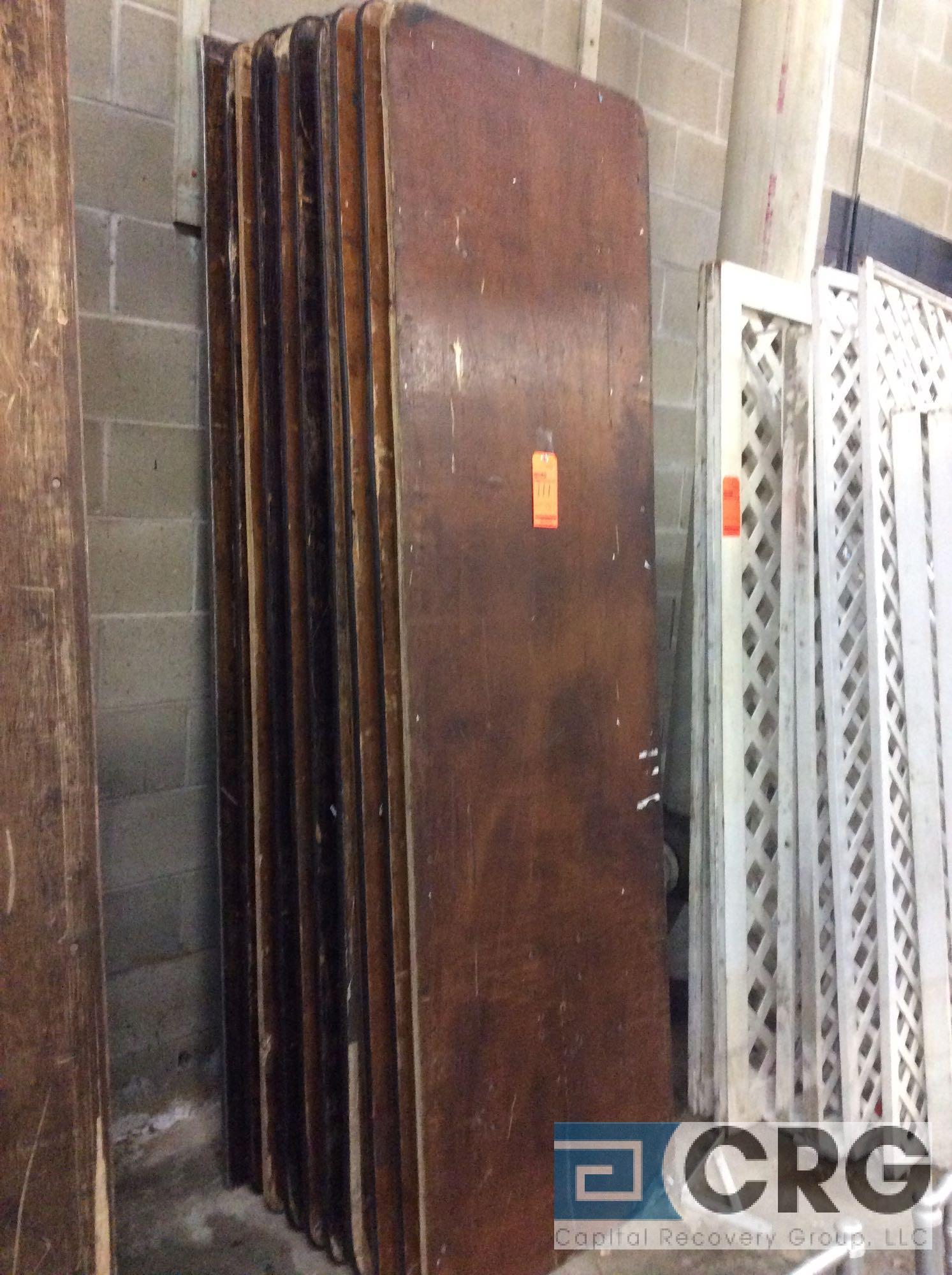 "Lot 111 - Lot of (10) assorted 30"" x 96"" folding leg wood tables."