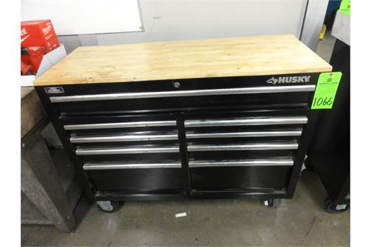 "Husky 46"" X 18"" Castered 9-Drawer Heavy Duty Wood Top"