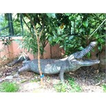 A large bronze crocodile sculpture, early/mid 20th century.