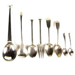 A collection of silver flatware.