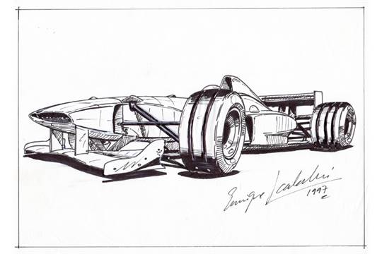 Two Formula 1 Design Concepts And Another Racing Car Drawing By Enrique Scalabroni An F1 Racing