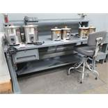 LOT - (2) METAL WORKBENCHES, BOTH W/ HOLES IN TOP, ITEMS ON TOP NOT INCLUDED