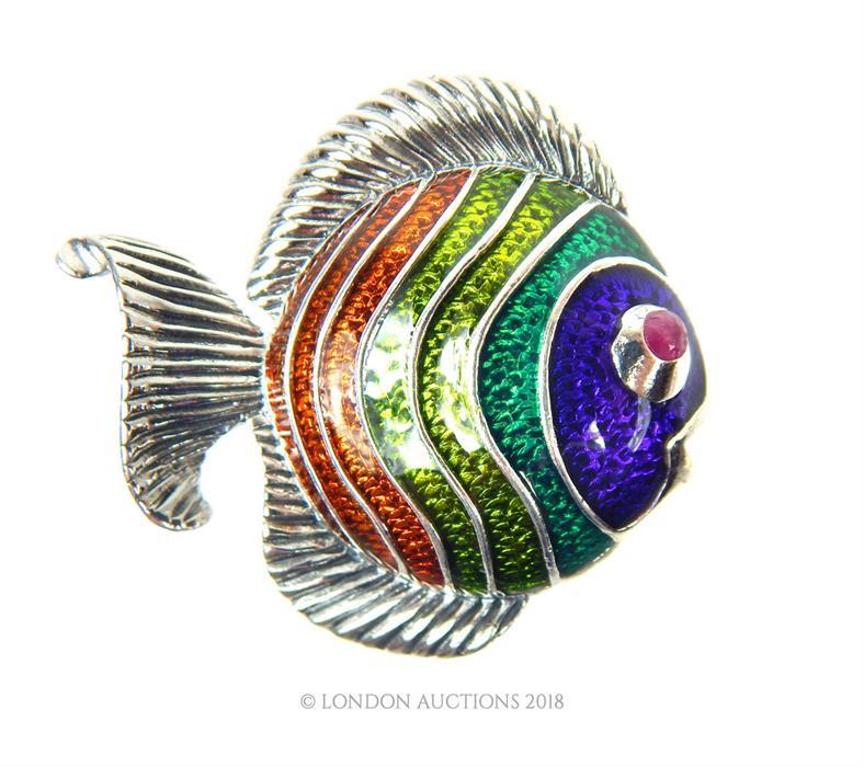 Lot 19 - A silver and enamel angel fish brooch