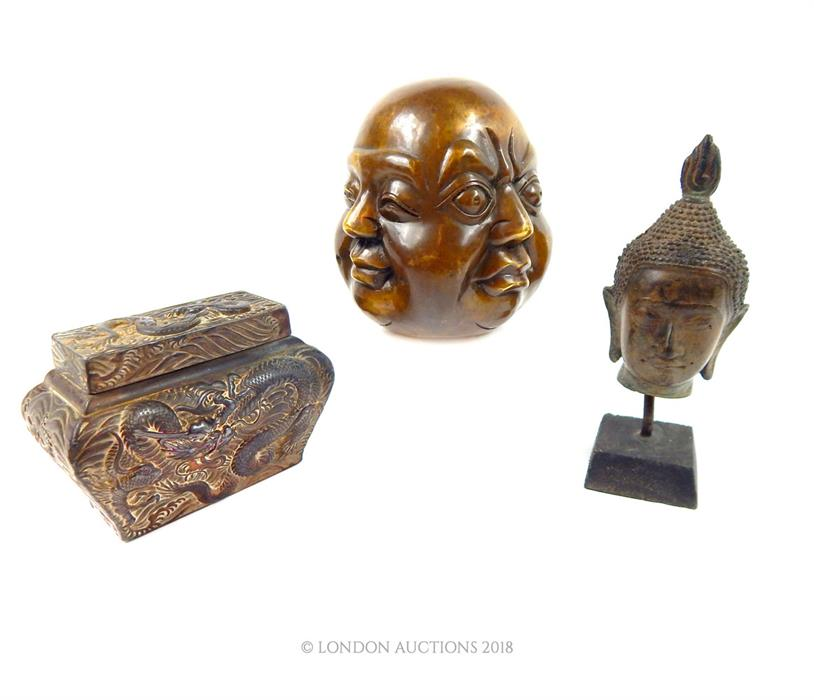 Lot 12 - Two bronze Buddha head sculptures and a Japanese box decorated with dragons