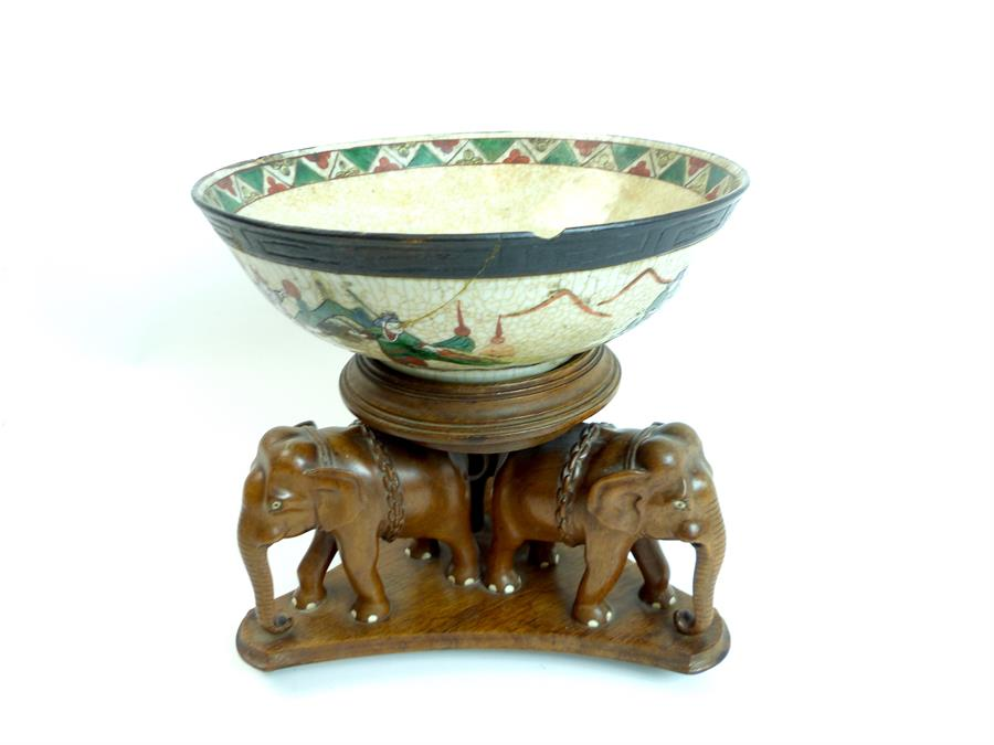 Lot 23 - Chinese Bowl on a Wooden Elephant Stand