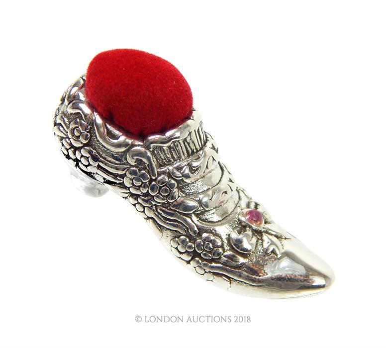 Lot 15 - Victorian Silver Shoe Pincushion