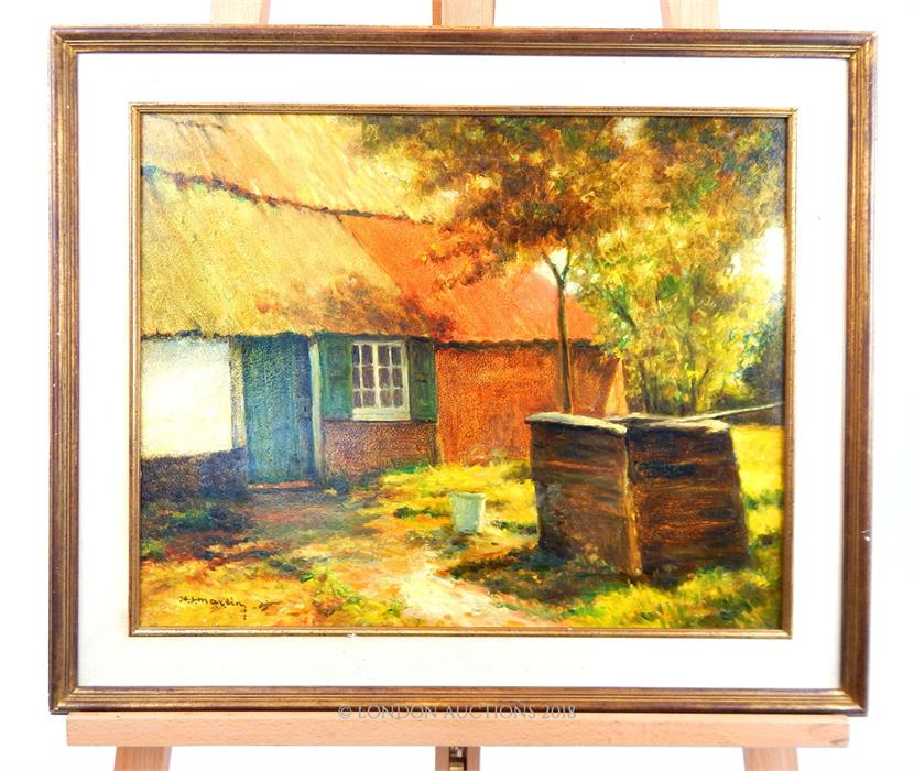 Lot 60 - Country Barn and Well Painting