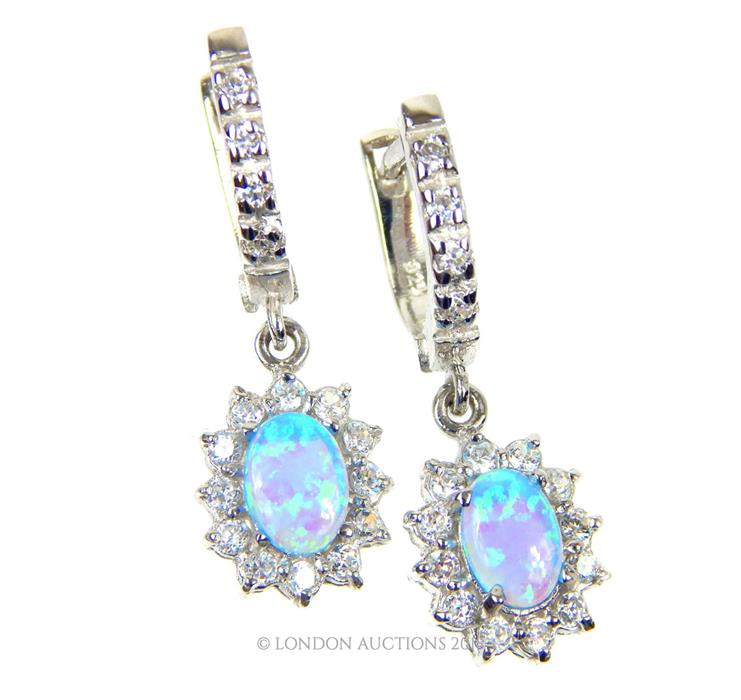 Lot 53 - A Pair of Silver and Blue Opalite Earrings