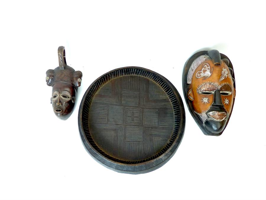 Lot 34 - Two African Masks and Wooden Dish